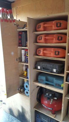 "#5 of 8 BEST PLANNED WORK TRAILER.  Keep shelves adjustable for different size cases. I used ""L"" shaped metal shelf pins with a hole, so I could screw through the shelf pin, into the shelf, so nothing moves. I also layer a cleat behind the tools on the shelf so it Brinson it to the outer edge of the shelf. Mobile tool storage"