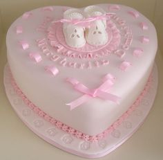 Heart-shaped Christening cake with booties and ribbon Baby Girl Christening Cake, Baby Girl Cakes, Baptism Cakes, Girl Shower Cake, Baby Shower Cakes, Chocolate Strawberry Cake, Pinterest Cake, Heart Shaped Cakes, Zucchini Cake