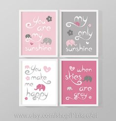 Baby You Are My Sunshine Print Pink, Girl My Sunshine Art Print, Elephant  And