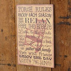 New Primitive Country Rocking Chair PORCH RULES Word Sentiment Sign Wall Plaque