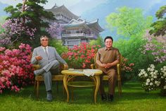 Kim Jong-il and Kim Il-sung Kim Jong Il, Sunshine Love, Propaganda Art, Facts For Kids, Garden Images, Korean Art, Poster Pictures, Weird And Wonderful, Pixel Art