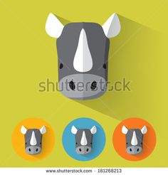 Animal Portrait with Flat Design / Rhino / Vector Illustration by Lorand Okos, via Shutterstock