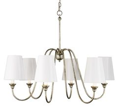 PRODUCT NAME: Orion Chandelier, Small DIMENSIONS: 27h x 29w NUMBER OF LIGHTS: 6 SHADES: Refer to catalog pages 234-235 MATERIAL: Wrought Iro...