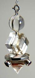 Sterling Silver Sacred Geometry Pendulum (Sphere, Cube, Cone)6 with Cabochons
