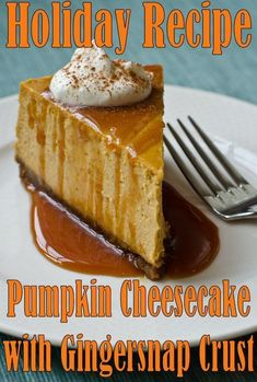 You'll melt over this creamy and delicious Pumpkin Cheesecake with Gingersnap Crust and Caramel Sauce. This pumpkin cheesecake is the ultimate sweet ending to your Thanksgiving feast -- and no one will miss the pumpkin pie. Just Desserts, Dessert Recipes, Baking Recipes, Dinner Recipes, Cupcake Cakes, Cupcakes, Snacks Sains, Thanksgiving Desserts, Pumpkin Recipes