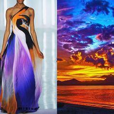 Blog PHOTO & L' ART • Rodarte S/S 2009. Photo by Karl Prouse/Catwalking via popsugar.com • & • Rainbow sky, Da-Nang (Vietnam). Photo by PublicDomainPictures via http://pixabay.com • Dress: @officialrodarte #Rodarte Collage by @l_i_ll_i_u_m All collages by tag ;) ❤ #LiliyaHudyakova