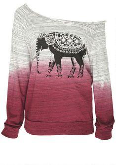 Dip Dye Elephant Sweatshirt - Whats New - Alloy Apparel