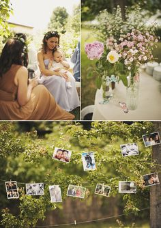relaxed garden reception. I like the photos on the clothesline.