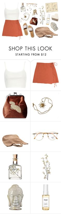 """""""✻ sky above me, earth below me, fire within me ✻"""" by coco-kisses ❤ liked on Polyvore featuring River Island, Anne Klein, Flora Bella, Persol, Pier 1 Imports, Moleskine, Emissary and Ouai"""