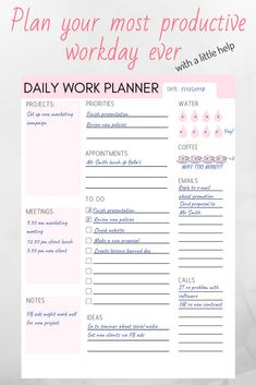 Have your most productive work day with this printable daily work planner. Available in (for your bullet journal), and US letter size
