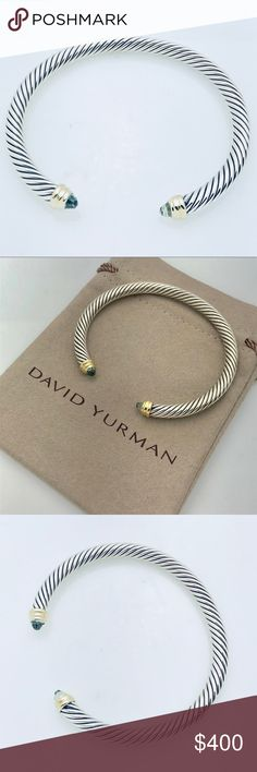 David Yurman Silver Bracelet w Gold and Prasiolite 100% Authentic Pre-Owned Fast and Safe Shipping  Trusted Seller I Accept Offers! Professionally Polished to Look New Comes with Pouch 925 Sterling Silver 14K Gold Faceted Prasiolite Cable 5mm wide David Yurman Jewelry Bracelets