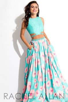 Rachel Allan 7536 Aqua/Coral Two Piece Prom Dress