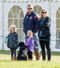 Autumn Phillips and Peter Phillips with Savannah Phillips and Isla Phillips attend the Whatley Manor International Horse Trials at Gatcombe Park on September 12, 2015 in Stroud, England