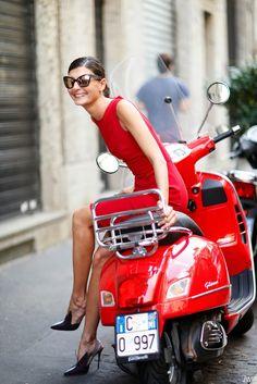 Outside Dolce & Gabbana - Milan FW - Vespa foever