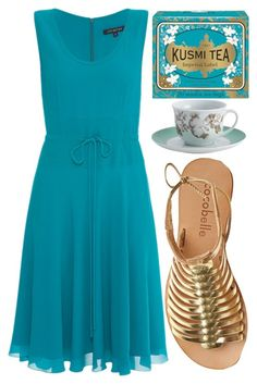 """Imperial Tea"" by rachael-aislynn ❤ liked on Polyvore featuring Kusmi Tea, Cocobelle, BonJour, Lyn Devon, Summer, dress, sandals, tea and teaparty"