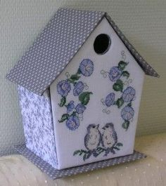 lavender and lace. Cross Stitch Bird, Cross Stitching, Cross Stitch Embroidery, Diy Crafts Store, Diy And Crafts, Gift Wraping, Bird Boxes, Cross Stitch Finishing, Christmas Crafts