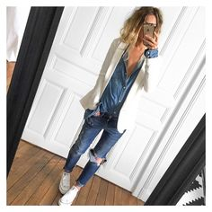 The white jacket really pulls this double denim look together | modeandmaison.wordpress.com