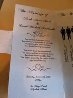 Wedding Program....Love it!!