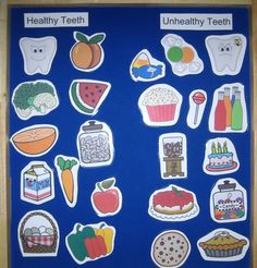 Healthy food vs. unhealthy food -students can draw picture or use junk mail to show food that will and will not damage teeth. The paragraph should explain how certain foods can harm teeth and what happens to the teeth that are damaged.