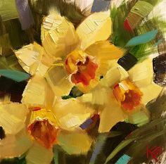 "Daily Paintworks - ""Daffodil Expression"" - Original Fine Art for Sale - © Krista Eaton"