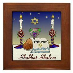 Judaica Shabbat Shalom Framed Tile by Lee Hiller #Judaica