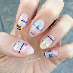Abstract Summer nail design, Striping Tape Nails, sohotrightnail