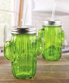 Green Cactus Glass Mason Jar Sipper