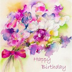 Sweet pea - happy birthday greetings card by sheila gill. Happpy Birthday, Happy Birthday Flower, Happy Birthday Pictures, Happy Birthday Greeting Card, Happy Birthday Messages, Birthday Love, Birthday Blessings, Birthday Wishes Quotes, Birthday Clips
