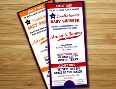 Twins Baby shower invitation - baseball baby shower boy invite- DIY twin baseball ticket boy couples shower sports printable decorations. $18.00, via Etsy.