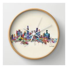 Los Angeles California Skyline Wall Clock ($30) ❤ liked on Polyvore featuring home, home decor, clocks, wall clocks, photo clock, battery powered clock, battery powered wall clock, round wall clock and battery operated clock