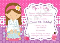 Spa Party Activities for Girls | Spa Birthday Party Invitation - DIY Print Your Own - Choose your girl