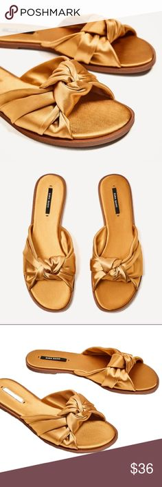 ZARA Basic - NWT Gold Bow Sandals Size 6 1/2 New With Tags Zara Sandals - Size 6 1/2 Women's Gold Bow Sandals - Excellent Condition - Never Worn - Comes with Dust Bag. Zara Shoes Sandals