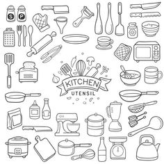 Find Set Doodle Kitchen Utensil Outline Black stock images in HD and millions of other royalty-free stock photos, illustrations and vectors in the Shutterstock collection. Bullet Journal Books, Bullet Journal Ideas Pages, Book Journal, Cool Doodles, Simple Doodles, Free Vector Art, Desenho Toy Story, Recipe Book Design, Mason Jar Crafts