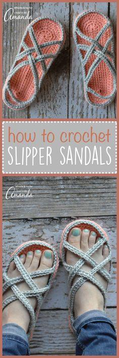 Crocheted slipper sandals