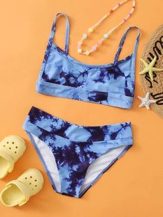 Bathing Suits For Teens, Summer Bathing Suits, Cute Bathing Suits, Summer Suits, Tie Dye Bikini, Bikini Swimsuit, Navy Bikini, Bikini Outfits, Kids Swimwear