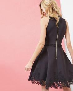 Embroidered skater dress - Black   Dresses   Ted Baker UK