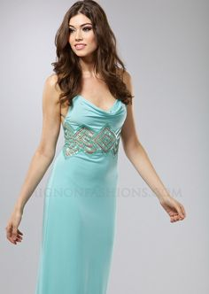Mignon Dress Floor Length Prom With Beaded Square Pattern Empire Waist Open Back Dresses
