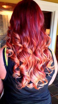 Fire Ombré - gorgeous sunset hair for fun! Long Curly Hair, Curly Hair Styles, Sunset Hair, Coiffure Hair, Red Ombre Hair, Blonde Ombre, Red Blonde, Orange Ombre, Crazy Hair