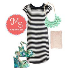 In this outfit: Sea Musketeers Dress, At the Last Minute Necklace in Mint, Chic to Chic Clutch, Tropical of My Love Wedge #patternmixing #casual #summer #cute #ModCloth #ModStylist #ootd #fashion