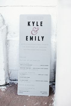 Wedding program // Like this but not at all. More like the chipotle menus, brown paper and white lettering??