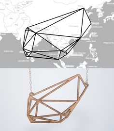 Personal travel history turned into unique customizable geometric jewelry by Meshu