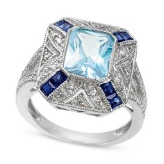 Aquamarine, Ceylon Sapphire and Diamond Art Deco Ring-Want this