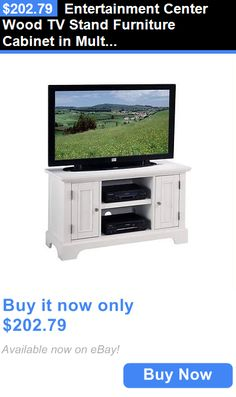 Entertainment Units TV Stands: Entertainment Center Wood Tv Stand Furniture Cabinet In Multi-Step White Finish BUY IT NOW ONLY: $202.79