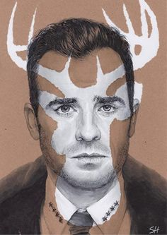 The Leftovers Kevin Garvey Portrait Drawing Signed by Sarahasart Deer Background, Arts Ed, Marker Pen, Sign Printing, Poster Making, Brown Paper, Giclee Print, How To Draw Hands, Fine Art Prints