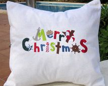 Embroidered Throw Accent Pillow - Nautical Christmas - 100% Linen Holiday Decor Christmas Gift