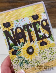Painted Autumn designer paper with sunflowers from the Stampin' UP! 2017 Holiday catalog - clear mount stamp case note pad holder by Patty Bennett