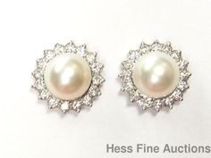 Gen. Ultra Fine White Tiffany Diamond 14k Gold Jackets 8mm Cultured Pearl Studs #TiffanyCojackets #StudswJackets