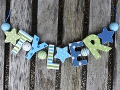 TYLER  WOODEN LETTER NAME DECORATION PERSONALISED SHABBY CHIC BABY NURSERY