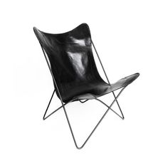 Roseneath Butterfly - Black, the statement to end all discussions. Stainless steel frame and soft blush leather to slip on into. This chair can be styled in so many different ways!