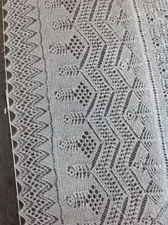 Fresh Knitting shawl Border, knitted to order in Rowan Fine Lace, shade Cobweb.